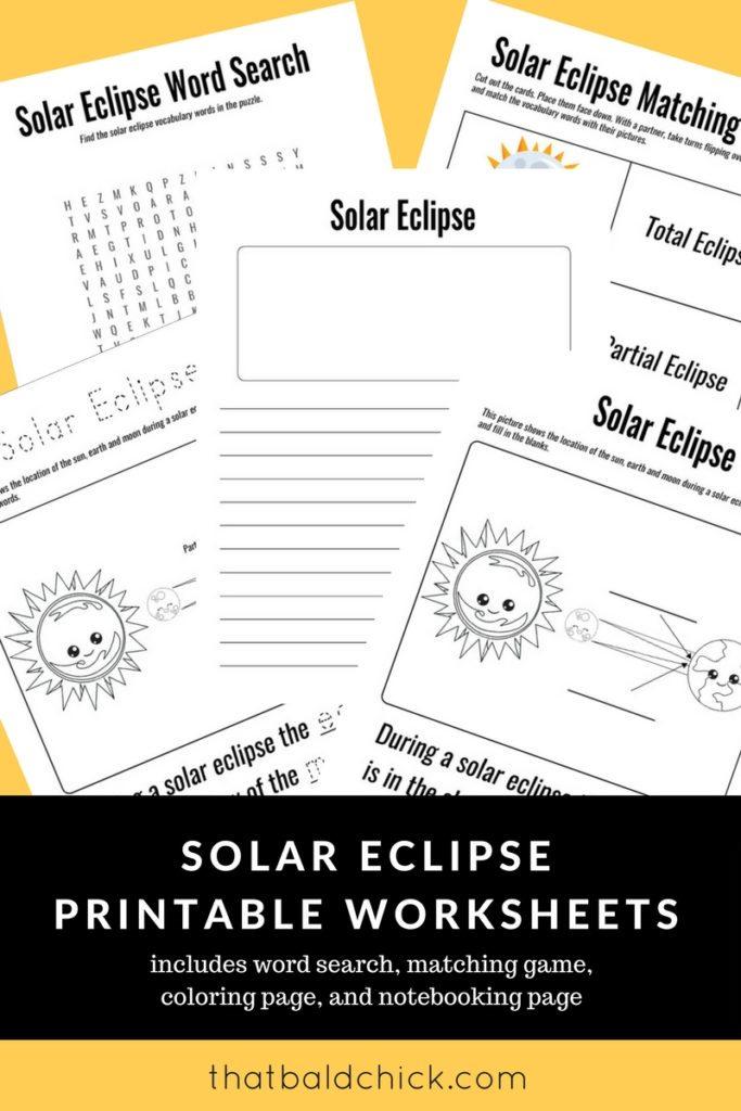 Solar Eclipse Printable Worksheets
